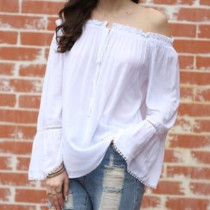 Tops - NWOT over the shoulder white long sleeve top