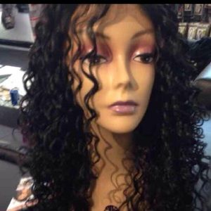 Wig curly black Long Lacefront New Lace Alopecia