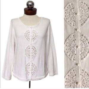 🆕 LILLY PULITZER paley crochet circle Cardigan L