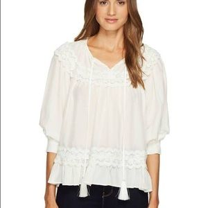 Kate Spade Lace Inset Silk Top