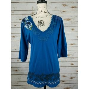 Johnny Was Tops - Johnny Was Floral Butterfly Embroidered Tunic Top
