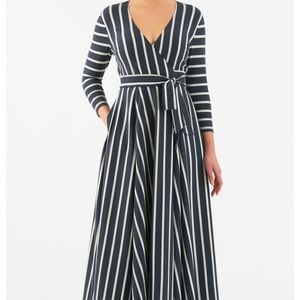 eshakti Dresses & Skirts - Eshakti Striped Wrap Dress