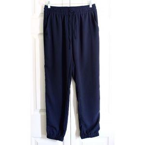 navy blue drawstring waist jogger trouser pants