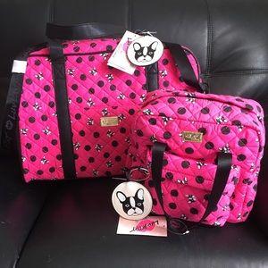 Betsey Johnson Boston Terrier Travel Bag Backpack