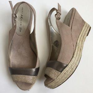 Anne Klein Shoes - Anne Klein espadrille wedges sz 7.5. Gold & tan!
