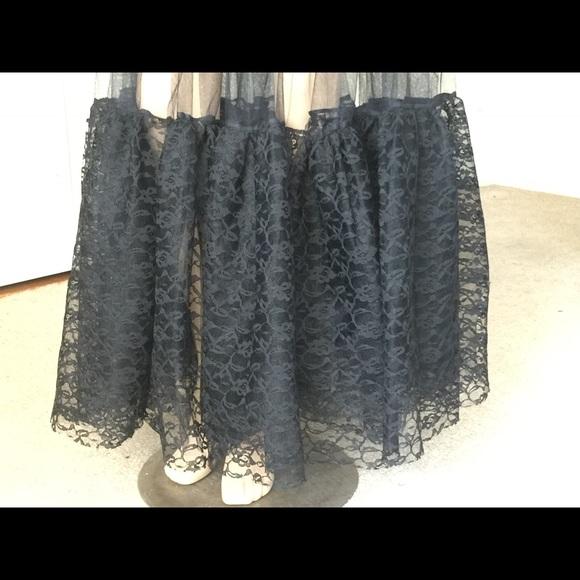 vintage grunge rocker lace tulle black maxi slip skirt