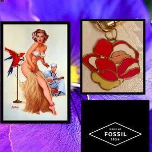 FOSSIL•Flower Bag Charm Key Fob