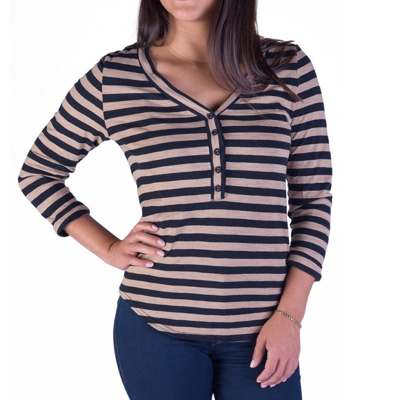 Everlane Tops - NEW black and camel striped top