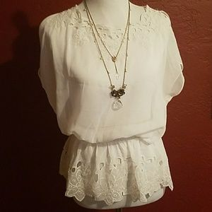 Andree Tops - Sweet, Flowy Lacy Chiffon Top NWOTS!