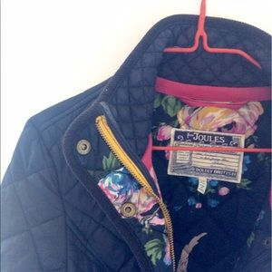 Joules Jackets & Blazers - Navy Quilted Jacket with Floral Lining 🌺🇬🇧