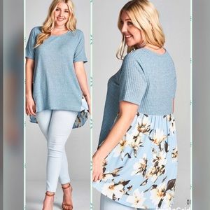 Tops - 🦋PLUS🦋NEW🦋Ribbed Knit & Floral Print Tunic