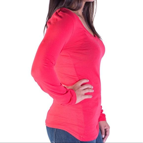 BOBI Tops - NEW Red V-Neck Long Sleeve Top