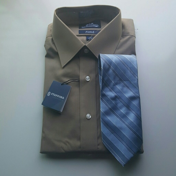 82 off stafford other fitted dress shirt and tie set for Stafford dress shirts fitted