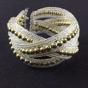 New White and Gold Bead Cuff Bracelet