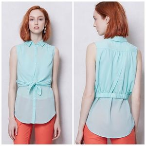 Maeve Faded Cyan button down sleeveless blouse