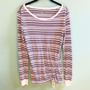 Three Dots Navy and White Striped Top