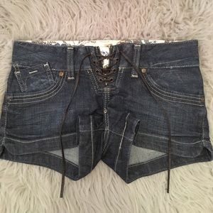 Guess Lace Up Jean Shorts