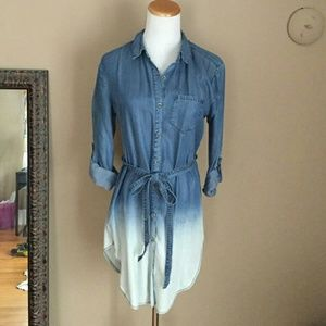 Anthropologie Dip Dyed Chambray Denim Dress Tunic