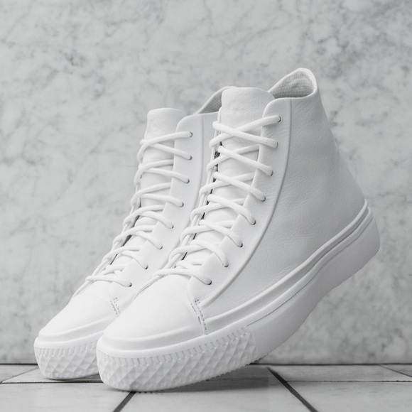 b3a17dff3a1190 Converse modern all white leather hi tops shoes