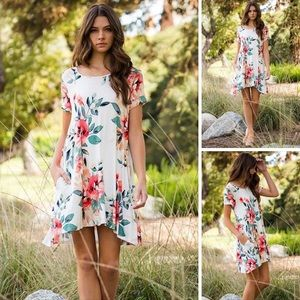 """""""Forever Floral"""" T-Shirt Dress in Ivory"""