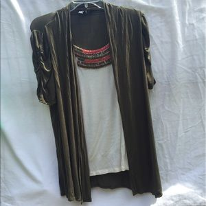 AGB Tops - Olive Green and White Sweater with Shirt