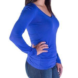 BOBI Tops - NEW Blue V-Neck Long Sleeve Top