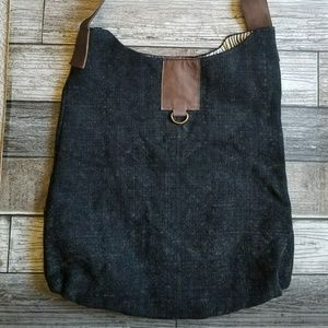 NATURA fabric tote with leather strap