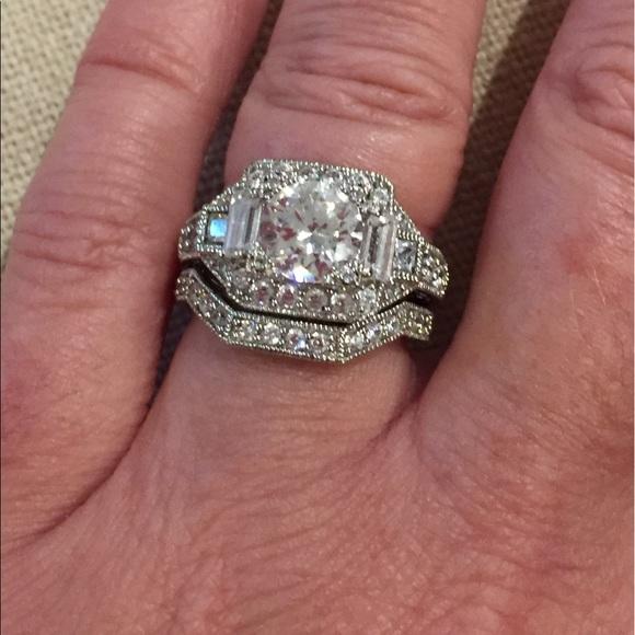 jewelry vintage look diamonique wedding ring set - Diamonique Wedding Rings