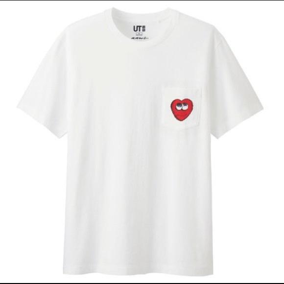 2b9ea9961 Uniqlo x KAWS Shirts | White Heart Pocket Tshirt | Poshmark