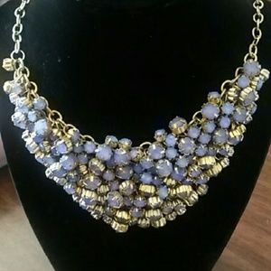 Purple rhinestone bib necklace