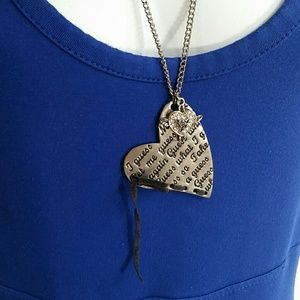 Guess Long Heart Silver And Black Leather Necklace