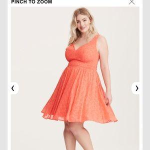239c320ffa7 torrid Dresses - NEW Torrid Coral Embroidered Gauze Dress.