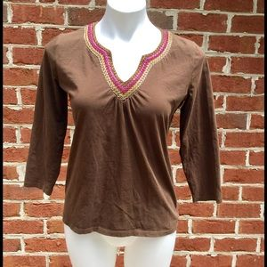 Sigrid Olsen Tops - Sigrid Olson Top, Medium, Brown Embellished V Neck