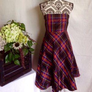 J.Crew Plaid 100% Silk Flared Midi Dress