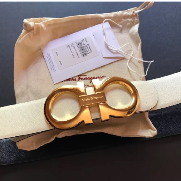 Ferragamo - Authentic white ferragamo belt with gold ...