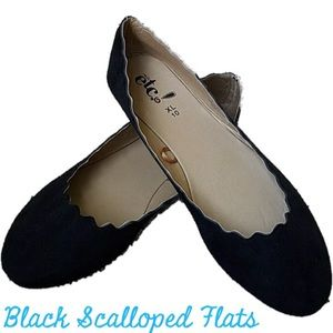 Rue 21 Scalloped Edge Black Ballet Flats NWT