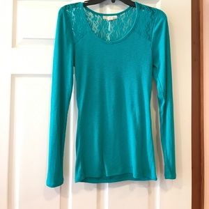 Turquoise green lace cutout shirt