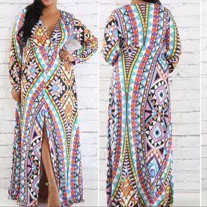 Dresses & Skirts - New Plus Geometric Print Thigh Slit Maxi Dress
