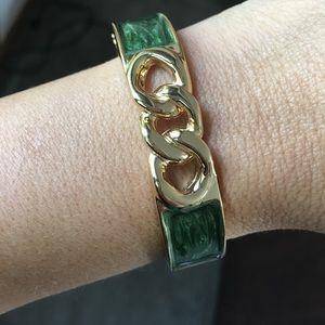 Cuff bracelet green with gold trim - super cute