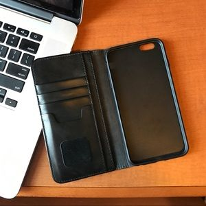 Other - • iPhone 6/6s Plus Black Leather Case •
