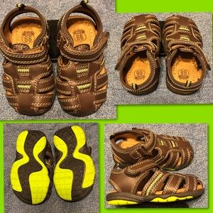 Infant Route 66 Sandals Brown/Line Green Size 4