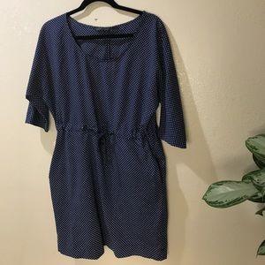 ZARA SZ M POLKA DOT DRESS BLUE CUTE FLOWY