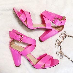 ♦️SALE! J.Crew Shocking Pink Mari Leather Heels
