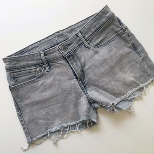 Levi's distressed denim, raw hem shorts! Size 27