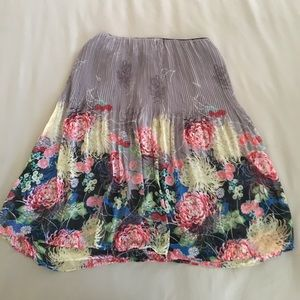 fab floral print pleated skirt