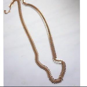 Gold Colored Fish Bone Chain Necklace