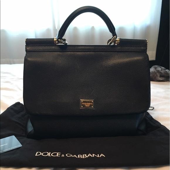 02e2be7407e Dolce & Gabbana Bags | Dolce Gabbana Miss Sicily Black Leather Large ...