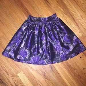 Ungaro Tre Vintage Full Skirt Purple Roses Sz 6