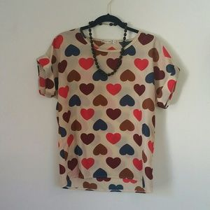 Liva Girl Tops - Boxy Sheer Queen of Hearts Shirt