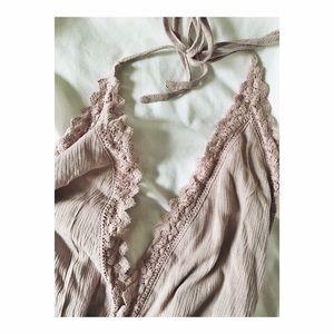 Brandy Melville Other - Kendall & Kylie Halter Crochet Trim Romper